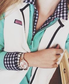Preppy Outfit of the Day! A checkered flannel undershirt, a warm blue quarter-zipper pull-over jacket, a white warm Vineyard Vines vest, a watch, and a pretty diamond bracelet Preppy Mode, Preppy Girl, Preppy Style, Classy Style, Classy Chic, Adrette Outfits, Preppy Outfits, Preppy Clothes, Preppy Fashion