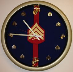 Marine Corps Dress Blues Sergeant Clock all Sgt by Semperclocks