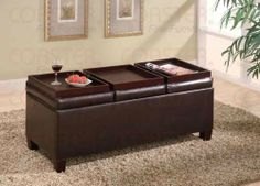 """Coaster Storage Ottoman Coffee Table with Trays, Brown Vinyl by Coaster Home Furnishings. $107.74. Some assembly may be required. Please see product details.. Living Room. 42""""W 17""""D 16.5""""H. Brown Vinyl Storage Ottoman Coffee Table with Trays. Dimensions: 42""""W x 17""""D x 16.5""""H. Finish: Dark Brown. Material: Leatherlike Vinyl. Contemporary Leatherlike Vinyl Storage Ottomans. Item features three flip top trays. Simple assembly required."""