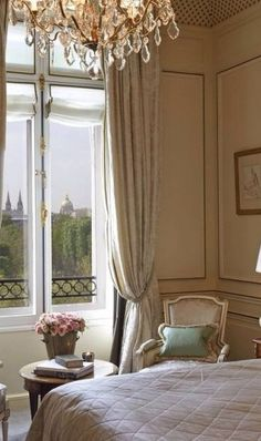 parisian bedroom with view takes all