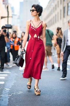 Yasmine Sewell on the street at New York Fashion Week. Photo: Imaxtree.