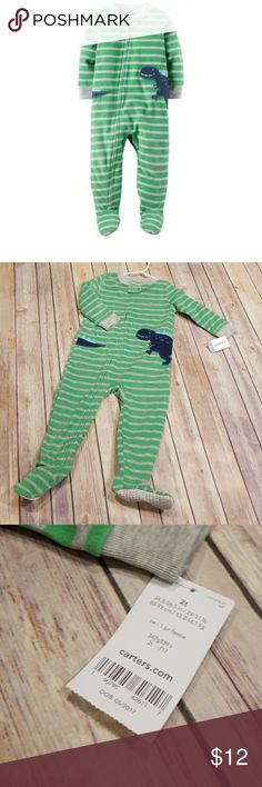 NWT CARTER'S 2T FLEECE DINOSAUR PAJAMAS Warm and cozy striped pajamas with a dinosaur on the front new with tags and a Carter's 2017 edition so currently in stores in excellent condition ready to ship to you quickly as we strive for repeat customers save big by bundling with more from my closet! Carter's Pajamas