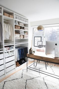 Open mid-century modern closet office.