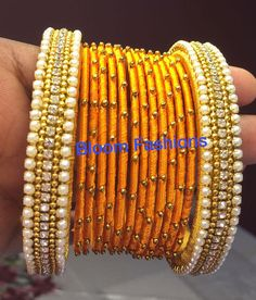 Silk Thread Bangles in new Designs. sizes available : Silk Thread Bangles Design, Silk Thread Earrings, Thread Jewellery, Gold Earrings, Handmade Jewelry Designs, Handmade Jewellery, Mirror Work Saree, Designer Bangles, Bridal Chura