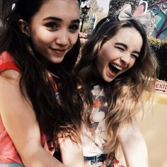 Sabrina Carpenter with Rowan Blanchard in Disneyland.