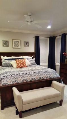 New blue and gray bedroom decor! Love  Sherwin Williams Alpaca gray.