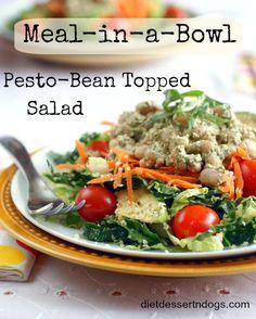 Pesto-Bean Topped Salad (dijon mustard, lemon, beans, walnuts, basil, garlic, lettuce, kale, carrot, cherry tomatoes, avocado, sprouts, hemp seeds)