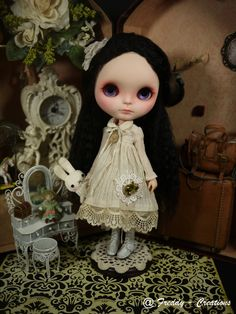 OOAK Custom Blythe Repaint * PANDORA * Full Reroot Hair+Dress Set by Freddy Tan | eBay