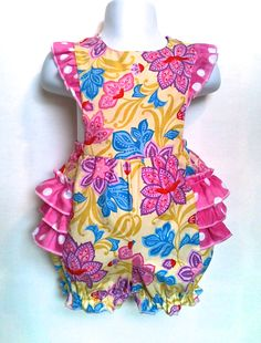 Baby Bubble Romper Bubble Suit Sunsuit Pink Yellow by 8thDayStudio, $36.00
