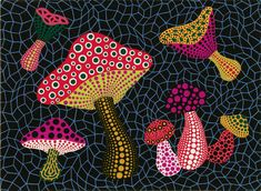 Yayoi Kusama, Dot Day, Mushroom Art, Art Lessons For Kids, Art Curriculum, Art Lesson Plans, Dot Painting, Teaching Art, Japanese Art