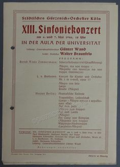 Zimmermann, Bernd - World Premiere Scherzo Sinfonico 1945 Program - Gunter Wand
