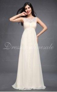 A-line Floor-Length Jewel Ivory Dress