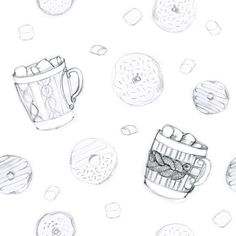 The first step of our future pattern with cups and donuts.