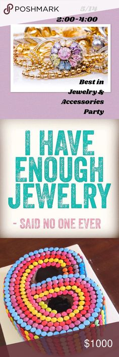 I am hosting my 6 th party on 5/12 from 2:00-4:00 The theme is Best in Jewelry and Accessories       I am so excited to look through closets and find  amazing Host Picks  See you next Friday ❤️ Jewelry