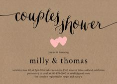 Milly Rustic Couples Shower Invitation by Paper Hive Studio  Our Milly couples shower invitation is simplistically elegant and the perfect invitation