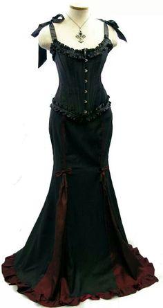 Gorgeous black corset fishtail skirt