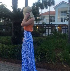 Lilly Pulitzer Nola A-Line Maxi Skirt shown in Bay Blue Yacht Sea via @hartzjl Instagram.