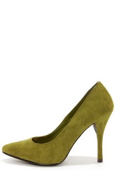 Holly 41 Military Green Pointed Pumps at LuLus.com! I'm totally in love with this shade of green.