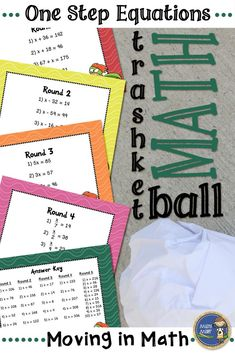 One Step Equations Trashketball - Get your students moving in math class. Students practice solving one-step equations and shoot baskets at the end of each round. Students will beg to play, and even principals have enjoyed a round or two. Click to check out all of my trashketball games! $ gr 6-8