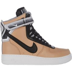Nike Women's Air Force 1 RT High Sneakers ($320) ❤ liked on Polyvore featuring shoes, sneakers, nike, nude, nike trainers, high top shoes, velcro high-top sneakers, nude flat shoes and perforated leather sneakers
