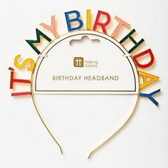 """Let everyone know it's your birthday with this dainty—yet bold—rainbow headband! Colorful enamel letters on a gold metal headband scream """"It's My Birthday""""!"""