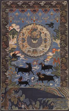 Cosmic Mount Meru - Tibetan Buddhist thangka
