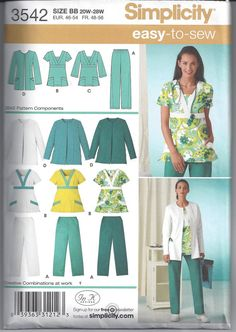 Simplicity 3542 Pattern for Womens Scrub Top by VictorianWardrobe, $6.99
