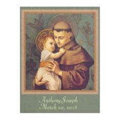 Anthony & Baby Jesus PERSONALIZE Fleece Blanket created by ShowerOfRoses. Personalize it with photos & text or purchase as is! Catholic Gifts, Catholic Prayers, Saint Anthony Of Padua, Patron Saint Of Animals, St Anthony's, Lady Of Fatima, True Faith, Patron Saints, Baby Jesus