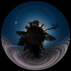 "A Panoramic Full Eclipse Composite with Star Trails Captured by Stephane Vetter """"This featured little-planet, all-sky, double time-lapse, digitally-fused composite captured celestial action during. Full Eclipse, Solar Eclipse Photo, Cosmos, Eclipse Photos, Astronomy Pictures, Advantages Of Solar Energy, Little Planet, Nasa Images, Star Trails"