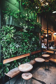 I'm on a never-ending search for the best coffee spots in LA -- this one is definitely at the top of the list. Where else can you go to get a taste of nature and amazing coffee surrounded by skyscrapers? Check out this post to see what I ordered! Cafe Shop Design, Coffee Shop Interior Design, Italian Interior Design, Restaurant Interior Design, Coffee Design, Modern Restaurant, Industrial Coffee Shop, Industrial Cafe, Arte Bar