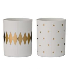Fine white porcelain votives with gold print. Designed in Denmark by Bloomingville House Doctor, Styling Bookshelves, Sharpie Paint, Going For Gold, Painted Mugs, Gold Print, Deco Design, Perfect Christmas Gifts, Home