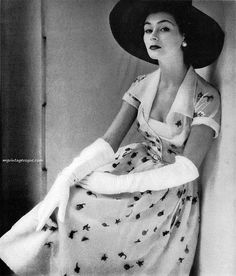 Glamour Magazine April 1951 Anne Gunning wearing Dior - photo by Henry Clarke