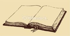 Vector Art: Vector drawing. Old open book with a bookmark