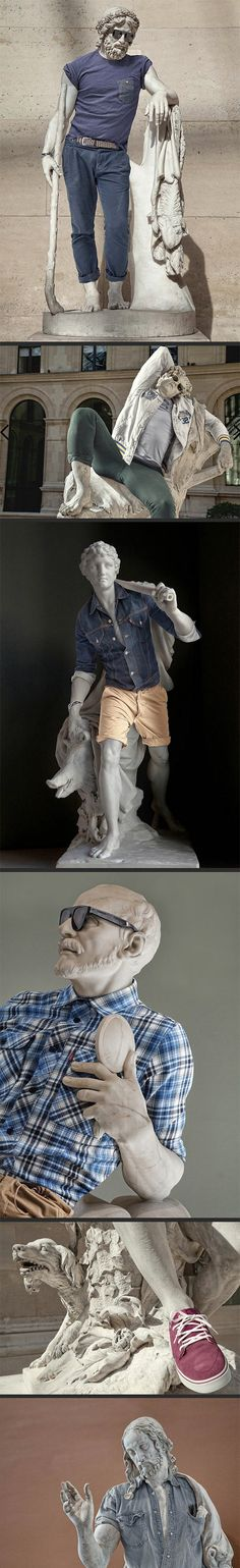 """Sculptures in modern day clothes…They all look so calm like """"Chill guys, I got some new modern clothes, it's all cool"""" <---Lol YES"""