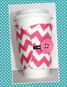 Button Coffee Cosy in Pink Chevron- Coffee Cup Sleeve - Reusable - Adjustable - Eco-Friendly. $5.00, via Etsy.