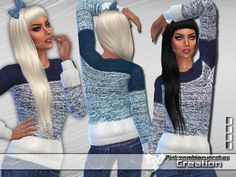 The Sims Resource: Snowflake Gradient Sweater by Pinkzombiecupcakes • Sims 4 Downloads