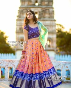 Pochamplly ikkat silk sarees Ikkat Duppatas ikkat Legengas Directly available from weavers For bookings please contact us. Lehenga Designs, Kurta Designs, Half Saree Designs, Saree Blouse Designs, Kids Lehenga Choli, Half Saree Lehenga, Lehnga Dress, Anarkali, Saree Gown
