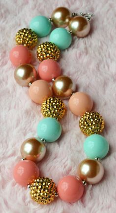 Chunky Beaded Bubblegum Necklace - Coral - Salmon - Mint - Gold on Etsy, $13.50