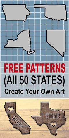 State Outlines Maps Stencils Patterns Clip Art (All 50 States) Free Patterns Outlines Clip Art Designs for all 50 states in the United States. The post State Outlines Maps Stencils Patterns Clip Art (All 50 States) appeared first on Wood Ideas. Vinyl Projects, Craft Projects, Sewing Projects, Projects To Try, Pallet Projects, Wood Crafts, Diy And Crafts, Arts And Crafts, Paper Crafts
