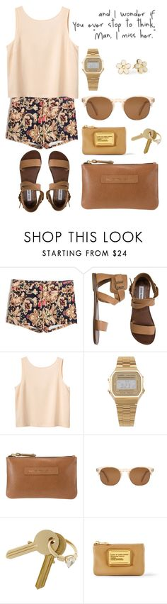 """ill be there for you."" by monicaliz ❤ liked on Polyvore featuring Steve Madden, Monki, Marc by Marc Jacobs, American Apparel, John Lewis, Oliver Peoples and Maison Margiela"