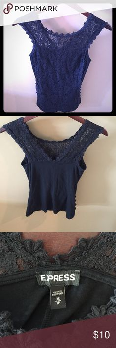 Black Lace Top Beautiful black lace top with a deep v back. Gently worn a few times. Express Tops Tank Tops