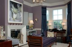 Example of an ornate living room design in New York with purple walls and a standard fireplace Living Room Decor Purple, Purple Wall Decor, Accent Walls In Living Room, Purple Walls, Plum Walls, Purple Grey, Teal, Room Wall Colors, Room Color Schemes