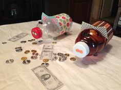 Juice bottle piggy banks for fundraiser centerpieces