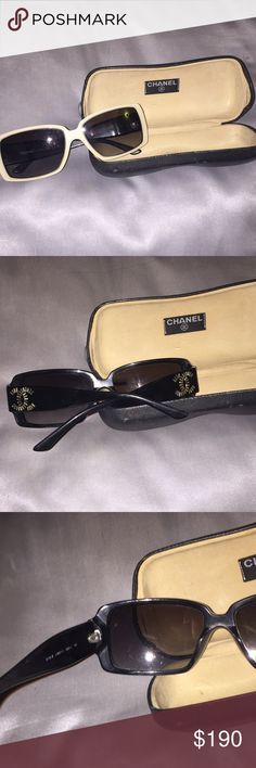 Vintage Chanel Sunglasses Authentic vintage Chanel Sunglasses  -used  -missing jewels on Chanel logo  -good condition   No issues with sunglasses, no scratches on lenses a few missing jewels on logo. Includes original case.  Offers welcome! CHANEL Accessories Sunglasses