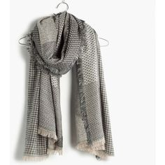 MADEWELL Houndstooth Patchwork Scarf ($60) ❤ liked on Polyvore featuring accessories, scarves, sleek charcoal, madewell, chevron scarves, print scarves, patterned scarves and fringe scarves