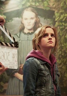 emma watson on the set of harry potter and the deathly hallows part 2