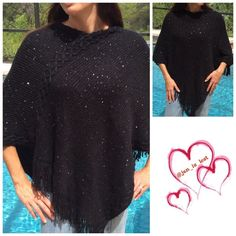 Sequin Printed Fringed Edge Gorgeous black poncho with small sequins throughout it to add a pop of sparkle to those cold days.  Also has etched in design along shoulders to arms. This is a one size fits most model is a size 6 to give you an idea on sizes. Material is 100% acrylic. Color is black. New without tags. Sweaters Shrugs & Ponchos