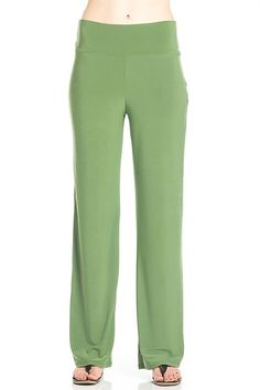 Women Banded Waist Wide Leg Stretch Comfy Flare Bottom Pants