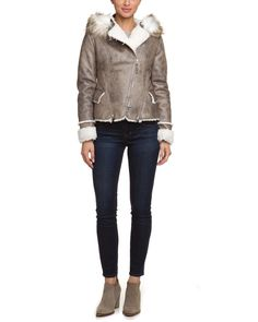 Laundry by Shelli Segal Taupe & Ivory Hooded Faux Shearling Jacket is on Rue. Shop it now.