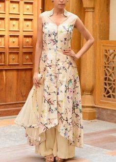 So subtle n gorgeous. Love the floral and ivory together. Cream Raw Silk Palazzo Set - chinoiserie / japonais influenced patterns and silhouettes interpreted Anarkali Dress, Pakistani Dresses, Indian Dresses, Indian Outfits, Salwar Designs, Blouse Designs, Indian Attire, Indian Wear, Party Kleidung